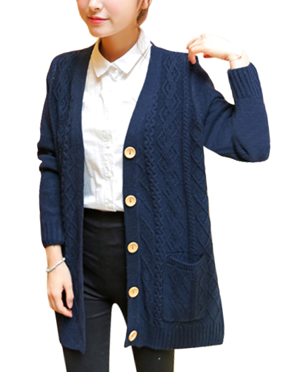 Women Fashion Ribbing Trim Cable Rib Knit Design Tunic Knit Cardigan Navy Blue XS