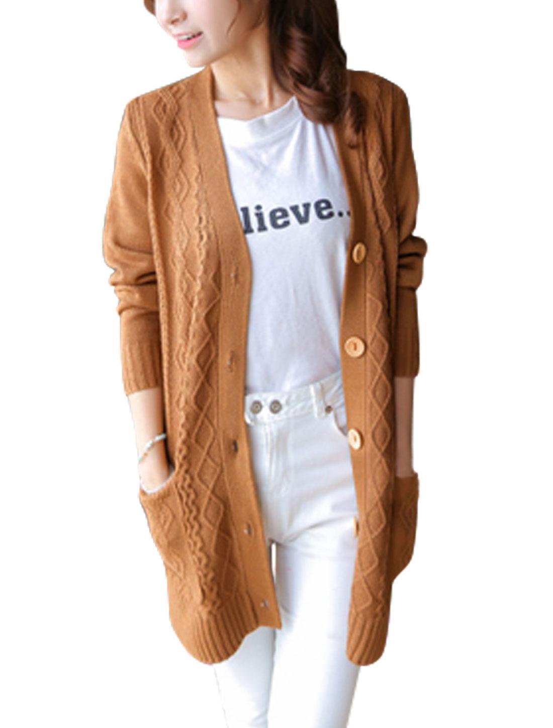 Women Fashion Deep V Neck Long Sleeves Ribbing Trim Tunic Knit Cardigan Brown XS