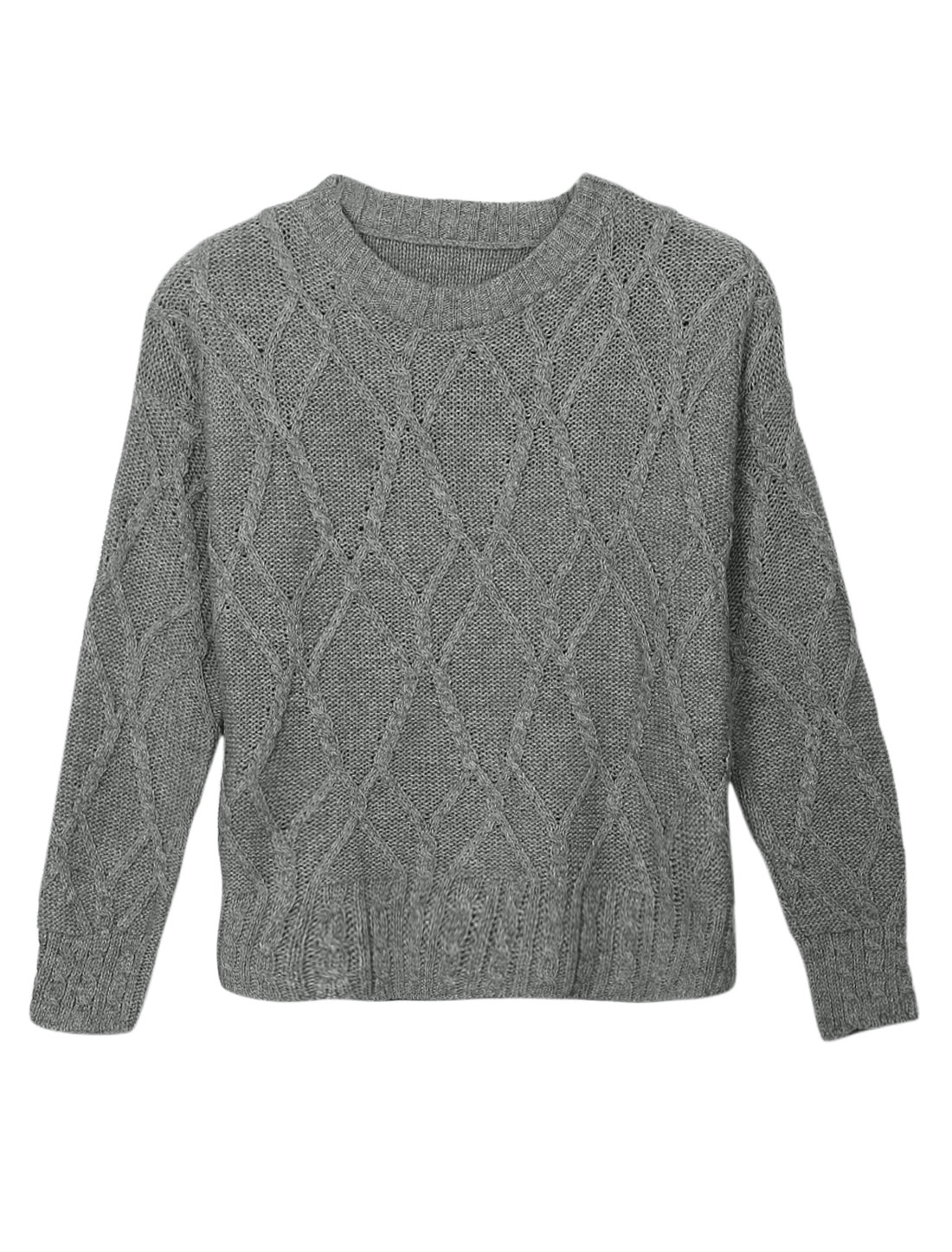 Ladies Light Gray Slipover Textured Argyle Design Round Neck Sweater XS