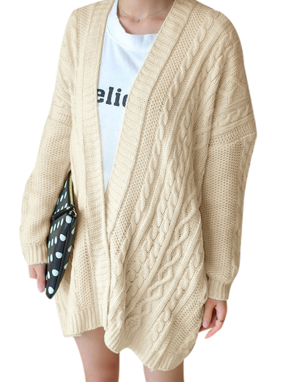 Women Batwing Sleeves Braided Design Tunic Cardigan Sweater Beige M
