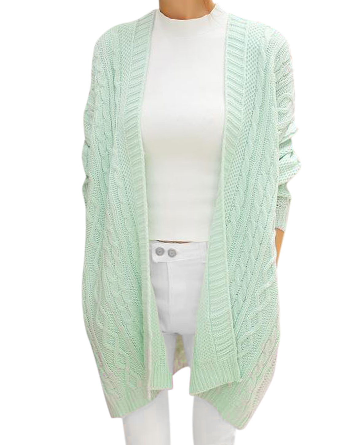 Lady Front Opening Two Sides Pocket Light Mint Tunic Cardigan Sweater M