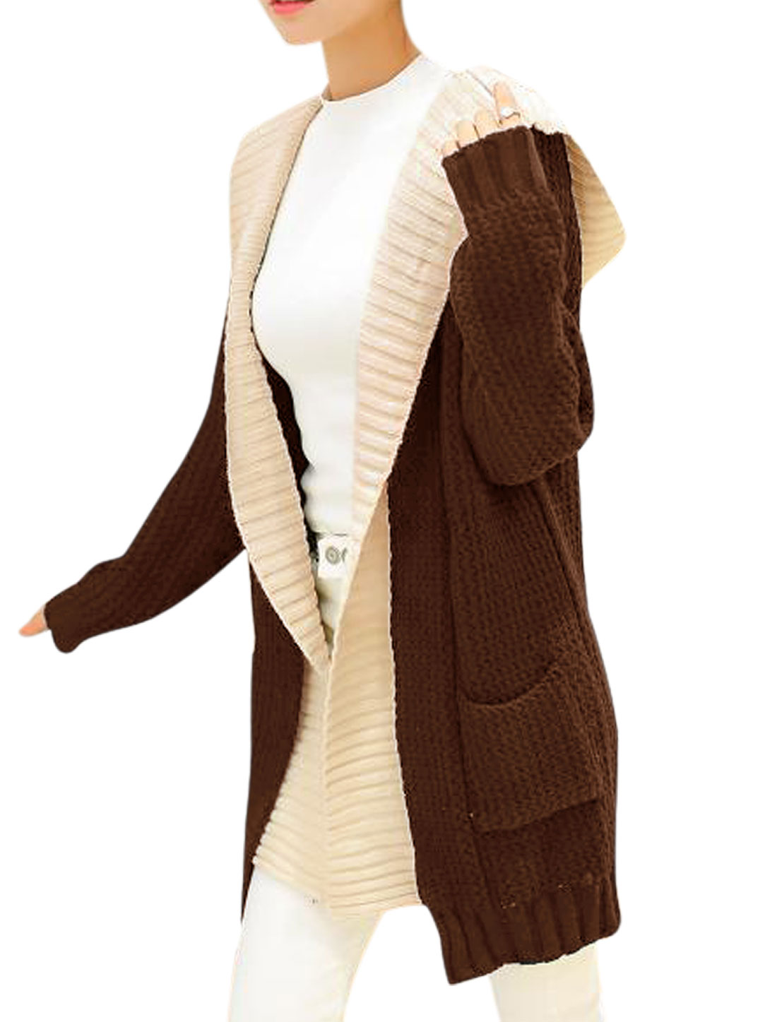 Women Coffee Hooded Splicing False Two Pieces Long Cardigan Sweater XS