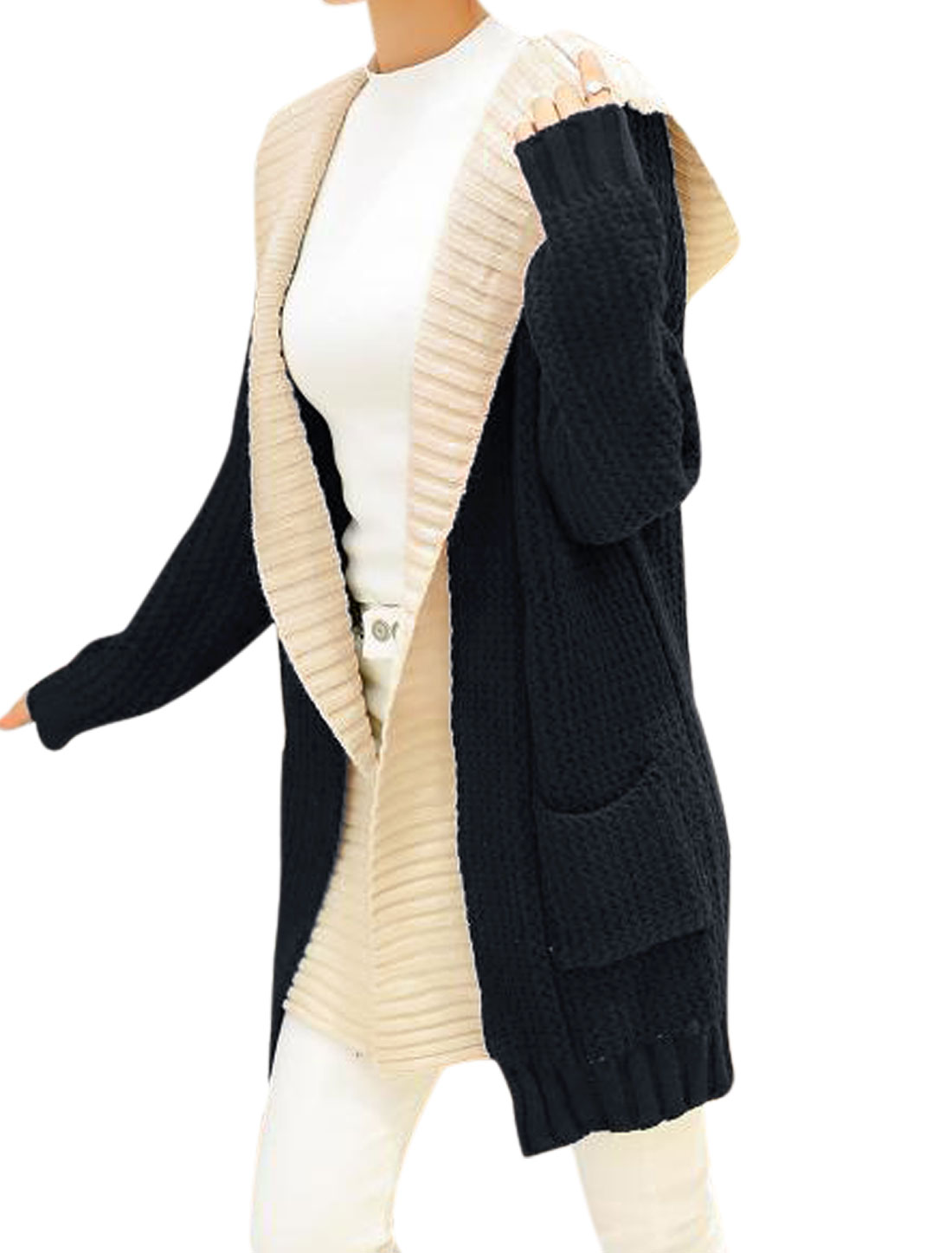 Women Navy Blue Hooded Splicing False Two Pieces Long Cardigan Sweater XS