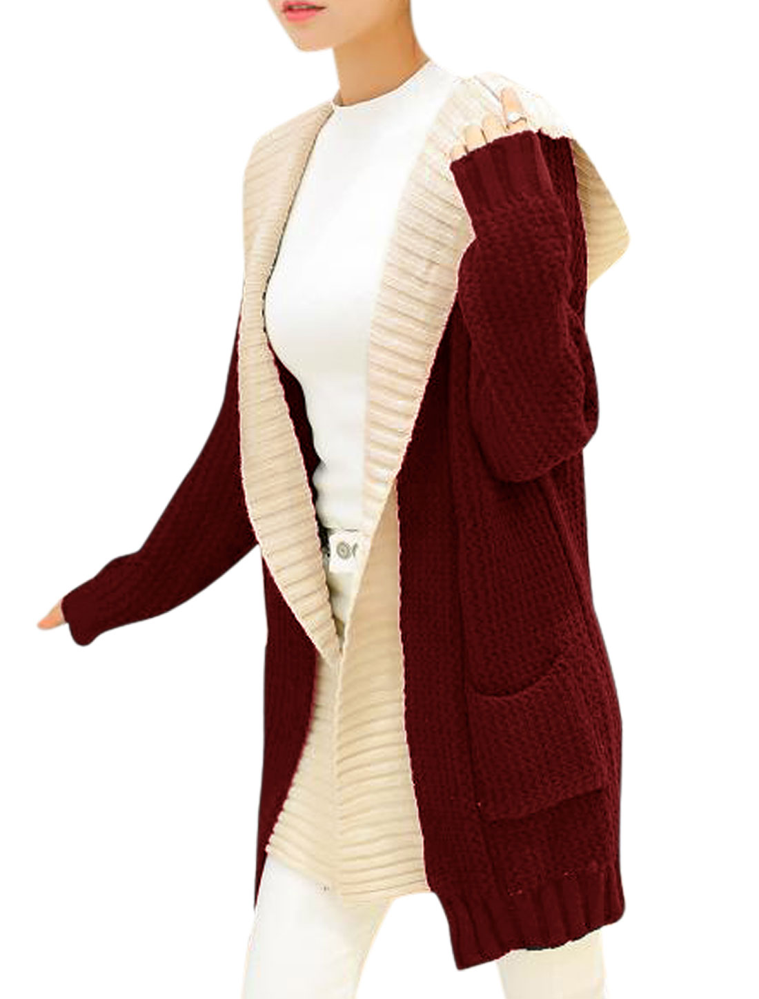 Women Burgundy Hooded Layered Long Cardigan Sweater XS