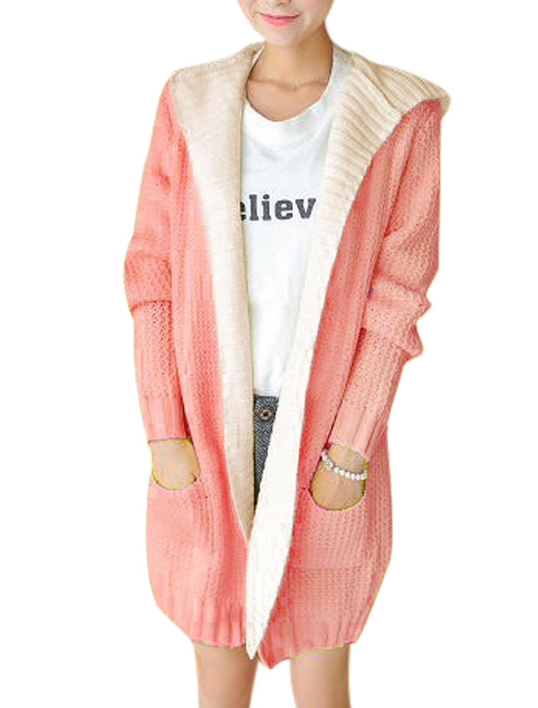 Women Pink Hooded Splicing Layered Long Cardigan Sweater XS