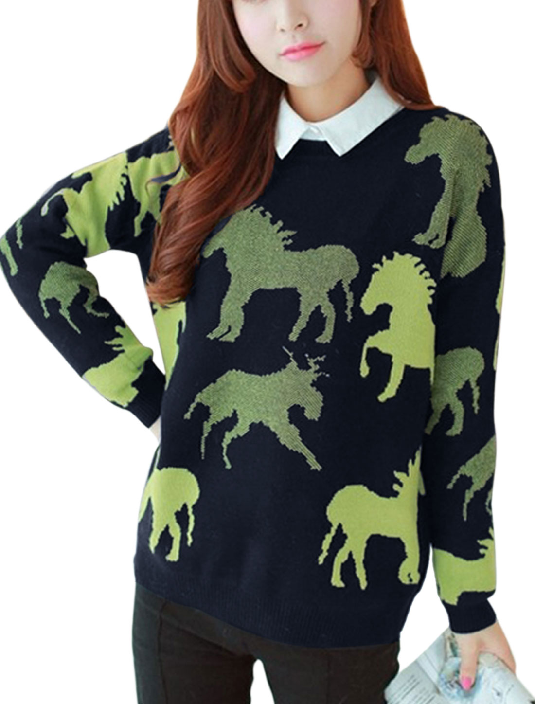 Ladies Navy Blue Long Sleeves Pullover Horse Pattern Ribbed Trim Leisure Sweater XS