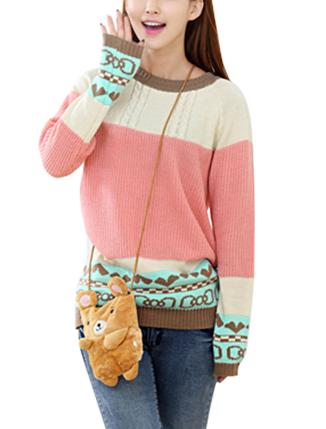 Women Hearts Stripes Pattern Raglan Sleeve Sweater Pink Beige XS