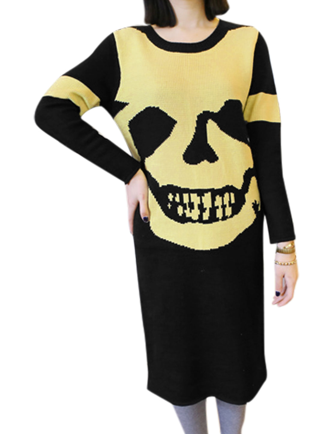 Women Black Round Neck Long Sleeves Skull Pattern Knitting Dress XS