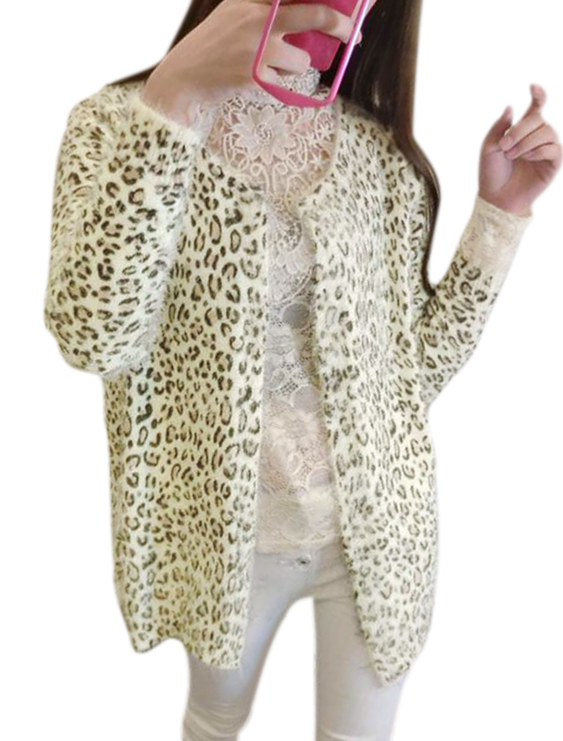 Ladies Beige Front Opening Leopard Prints Long Sleeve Knit Cardigan S