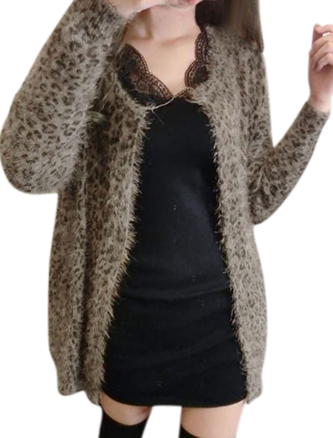 Ladies Brown Front Opening Leopard Prints Round Neck Knit Cardigan S