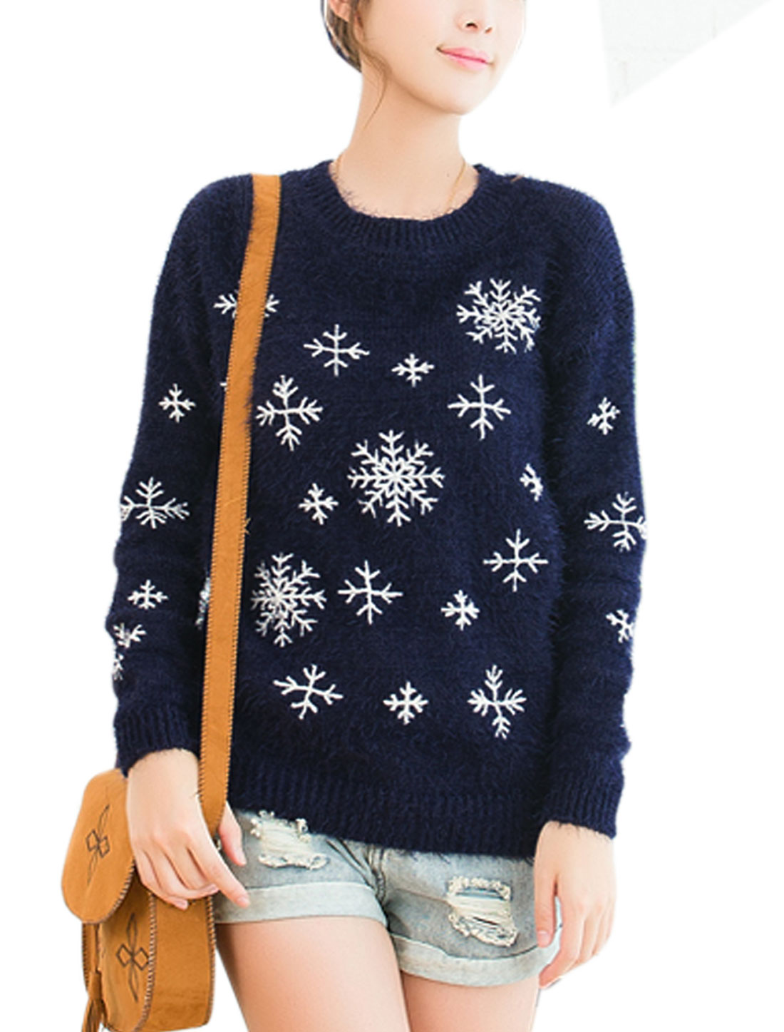 Ladies Navy Blue Pullover Snowflake Pattern Long Sleeves Casual Sweater XS
