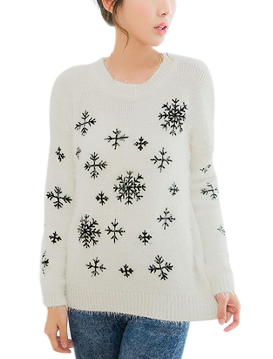 Ladies White Slipover Snowflake Pattern Round Neck Casual Sweater XS