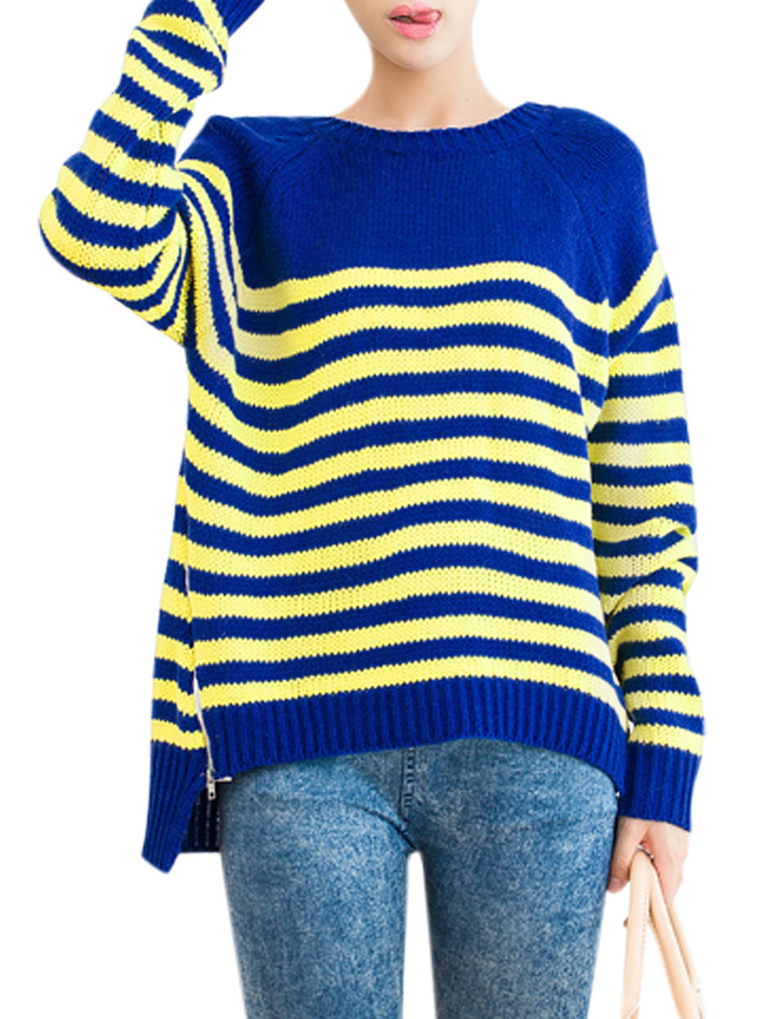 Ladies Royal Blue Yellow Pullover Stripes Zip Up Sides Asymmetric Hem Sweater XS