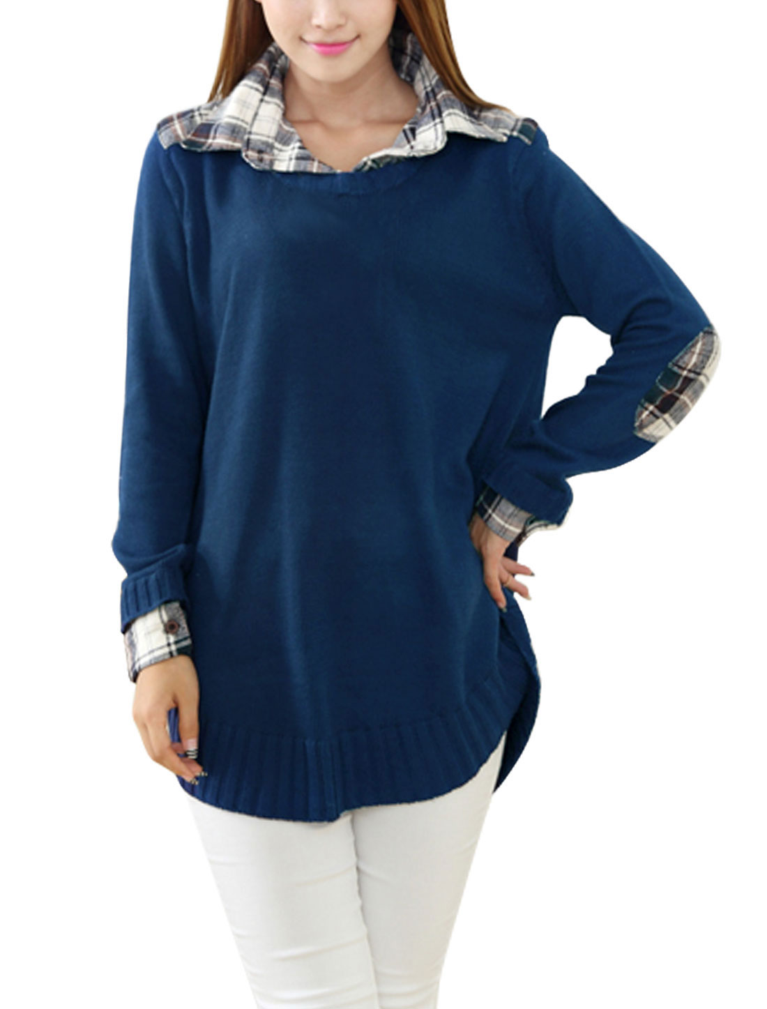 Ladies Long Sleeves Layered Navy Blue Tunic Sweater M