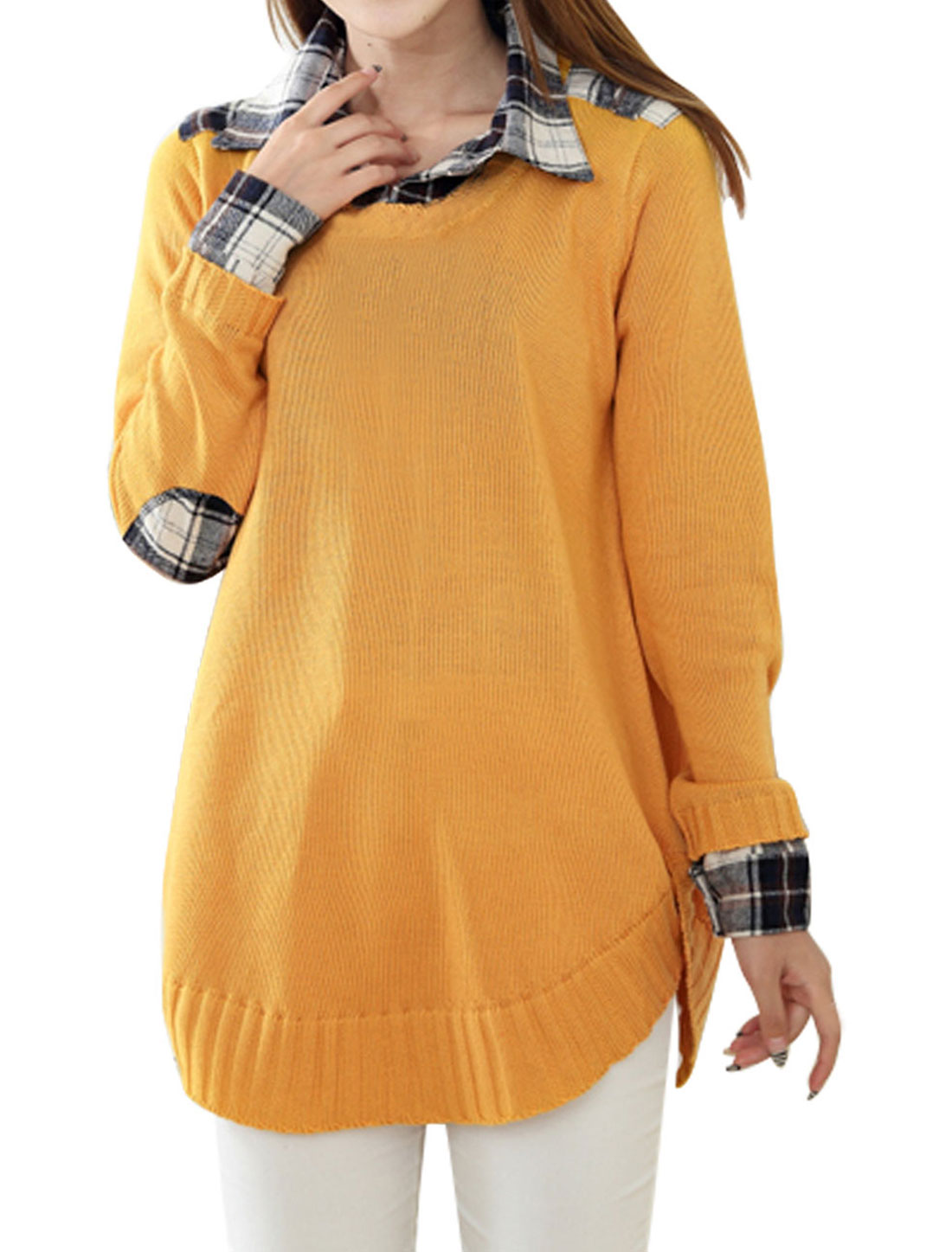 Lady Point Collar Long Sleeve Pullover Yellow Tunic Knit Sweater M