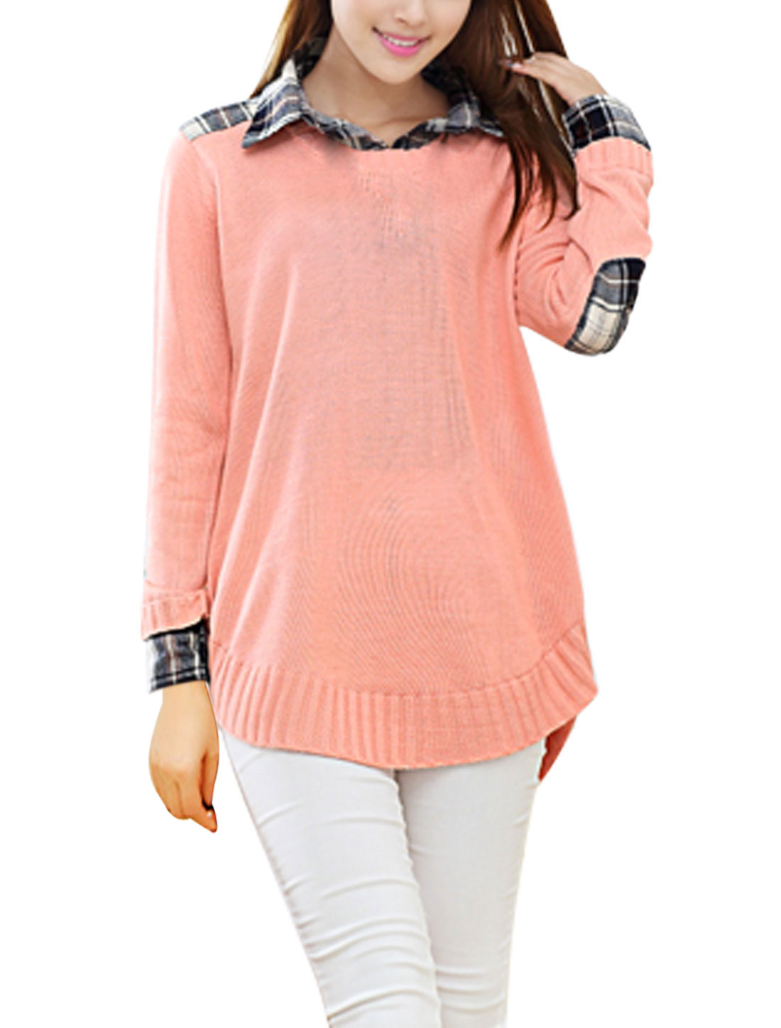 Loose Long Sleeves Slipover Pale Pink Tunic Sweater for Women M
