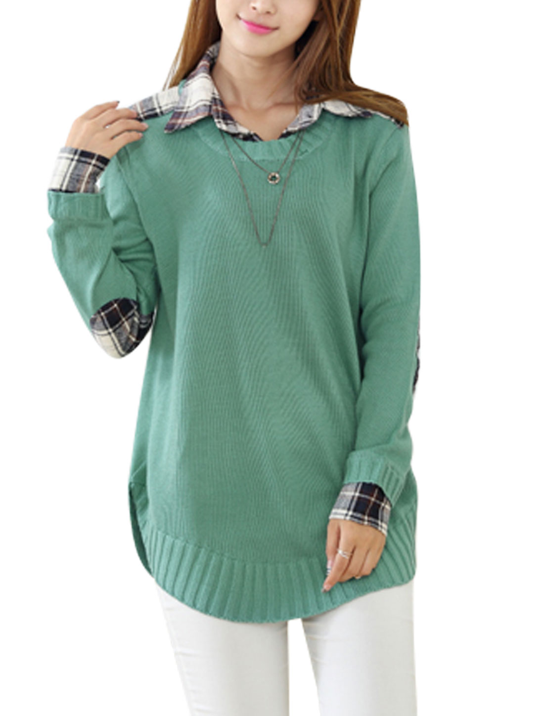 Layered Design Loose Slipover Green Tunic Sweater for Lady M