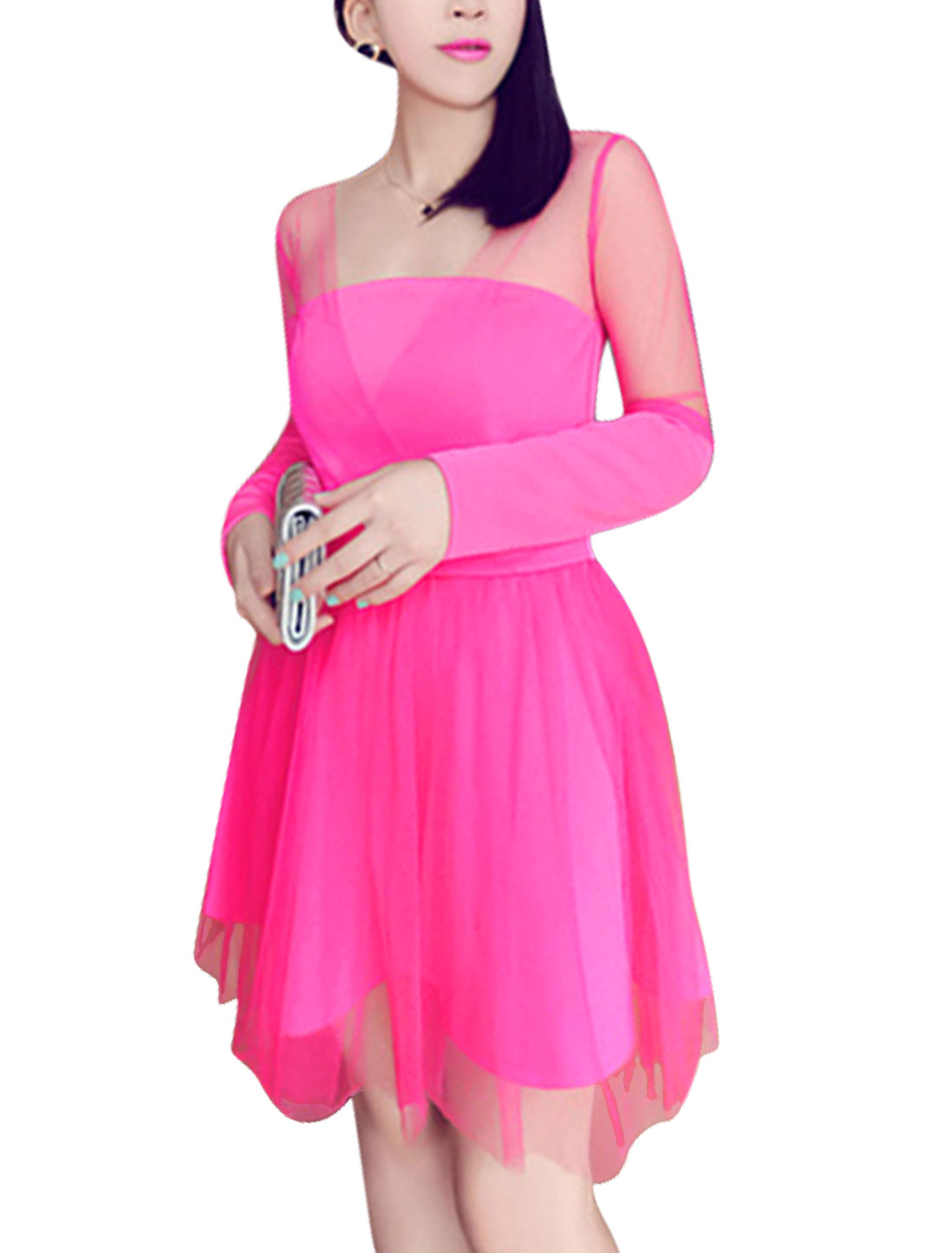 Lady Square Neck Layered Hem Spliced Design Sexy Mesh Dress Pink M