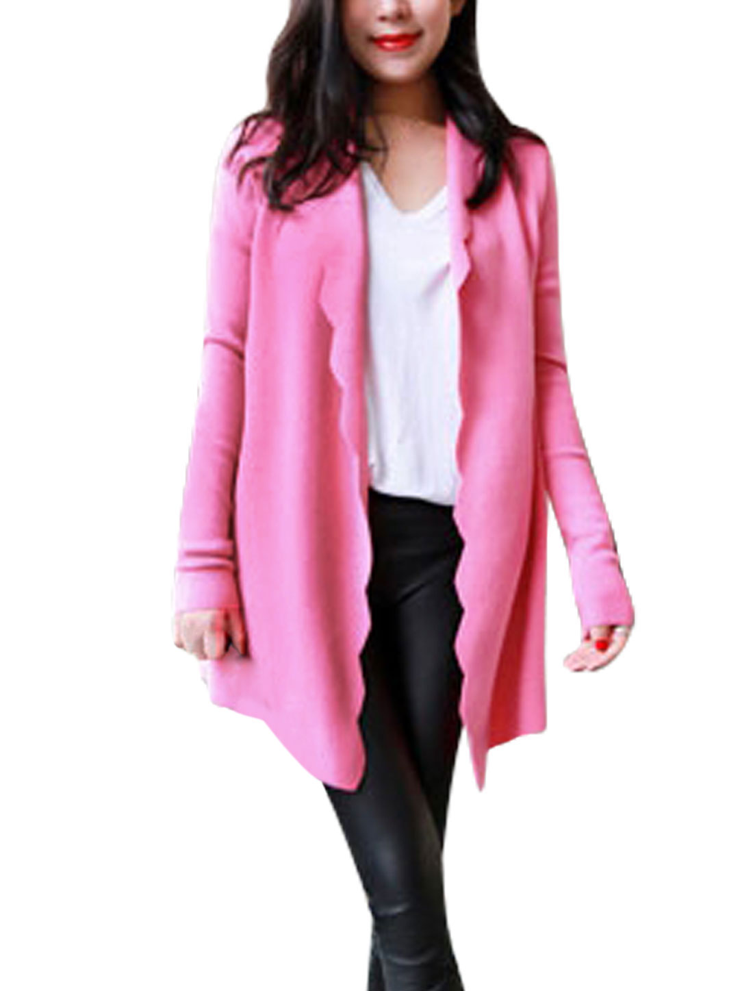 Women Shawl Collar Front Opening Scalloped Trim Casual Tunic Cardigan Pink S