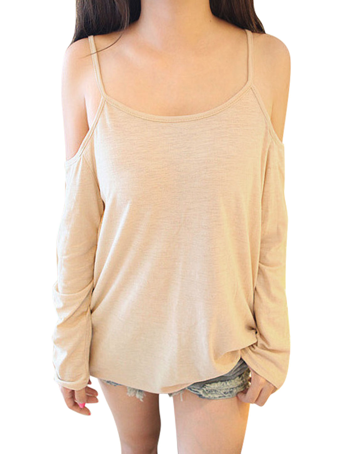 Ladies Pullover Round Neck Long Sleeve Casual Shirt Beige S