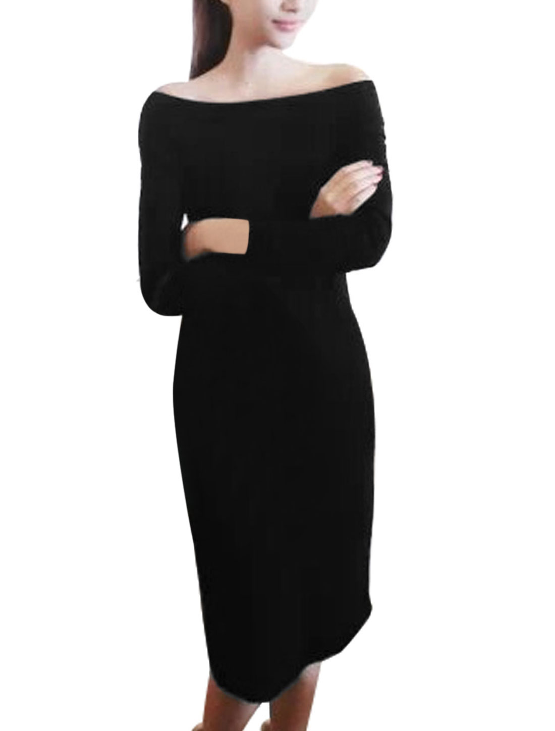 Lady Off The Shoulder Long Sleeve Slim Fit Dress w Hair Scarf Black S