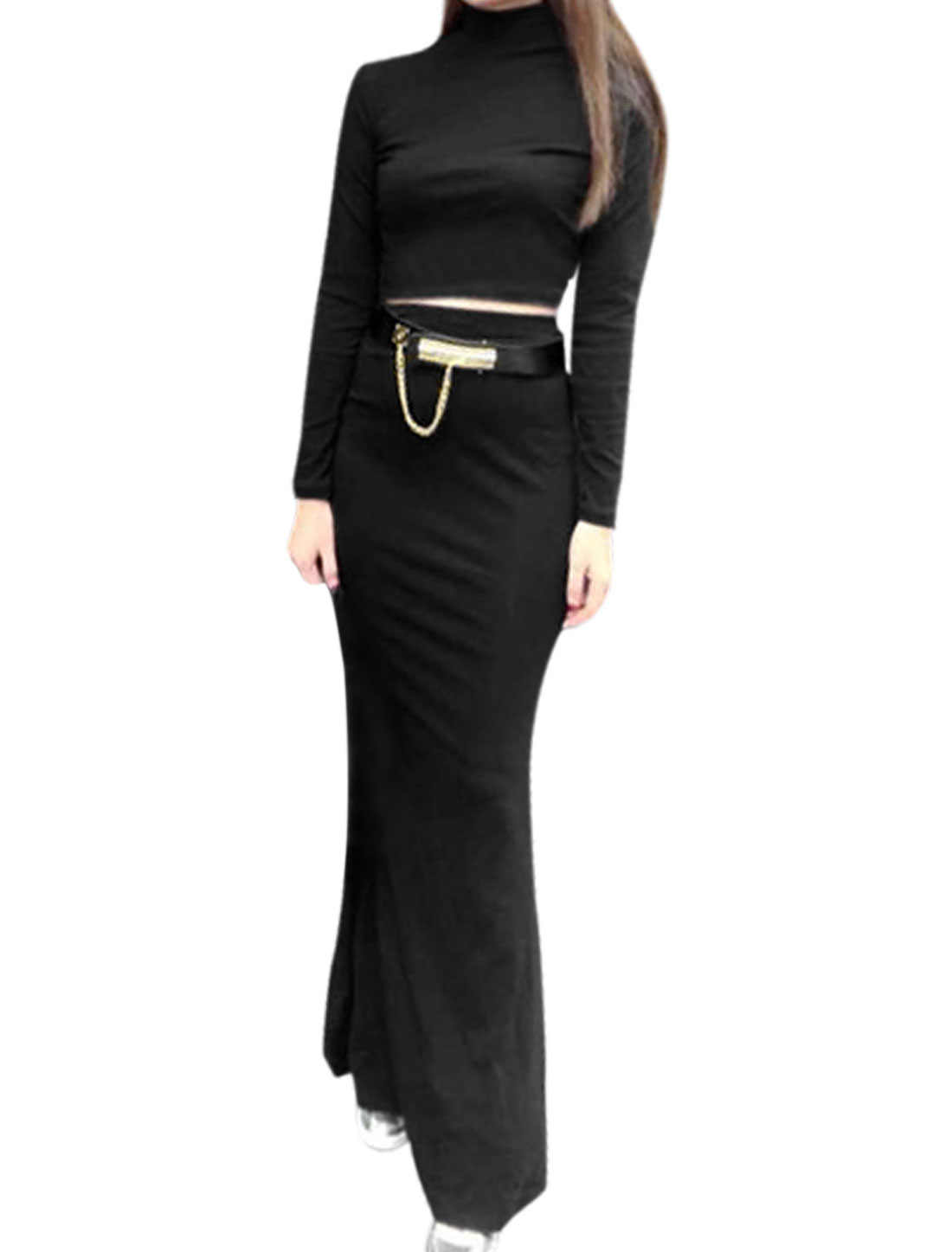 Women Mock Neck Belero Shirt w Elastic Waist Long Skirt Black M