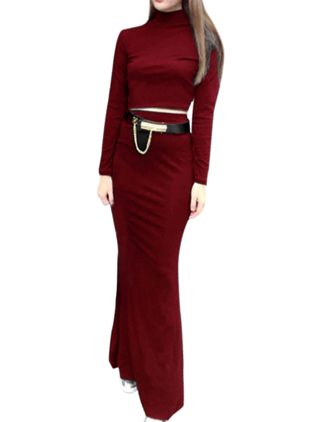 Lady Long Sleeves Belero Shirt w Fish Tail Long Skirt Burgundy M