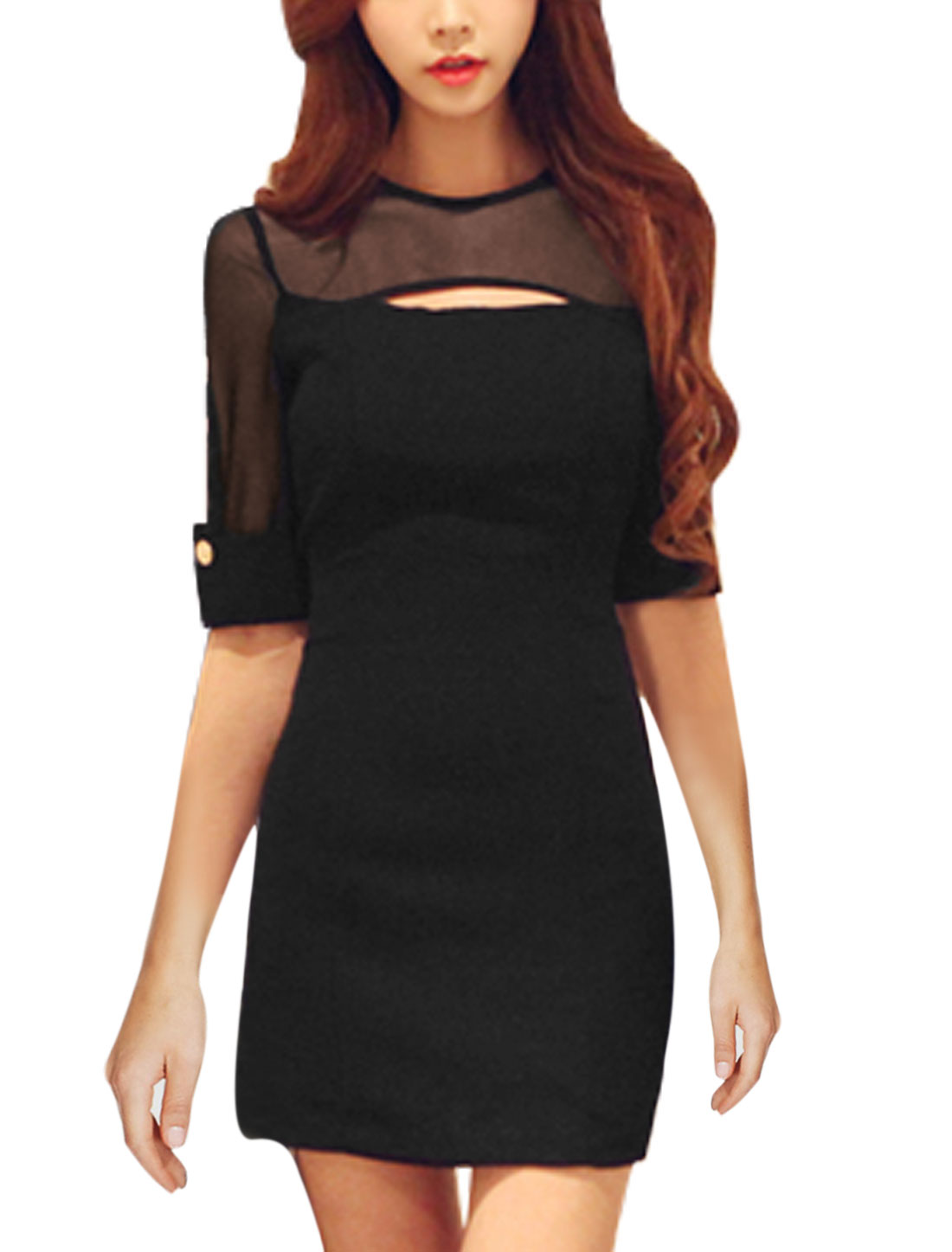 Women Elbow Sleeves Mesh Spliced Cut Out York Newly Sheathy Dress Black S