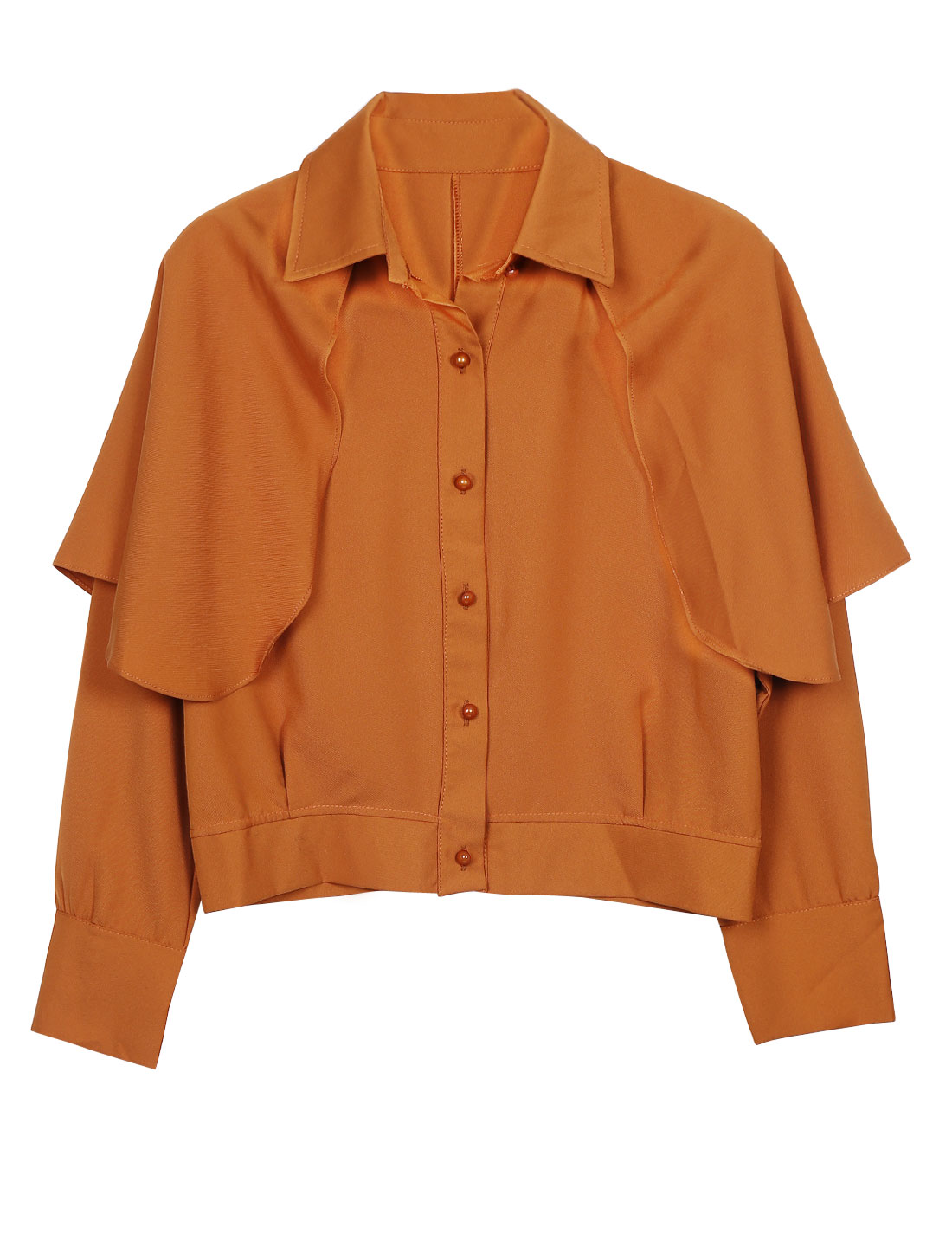 Women Fashion Buttoned Cuffs Cape Design Cropped Shirt Ochre XS