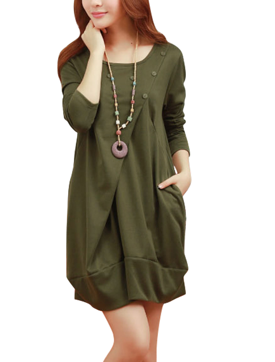 Women Ruched Detail Long Sleeves Slipover Short Dress Army Green M