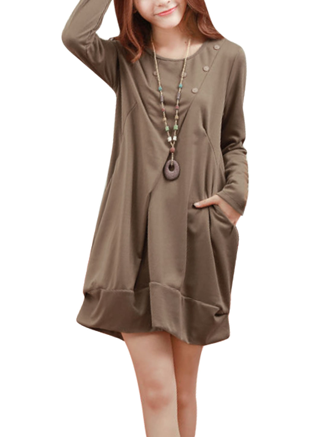 Ladies Button Decor Front Long Sleeves Light Coffee Short Dress M