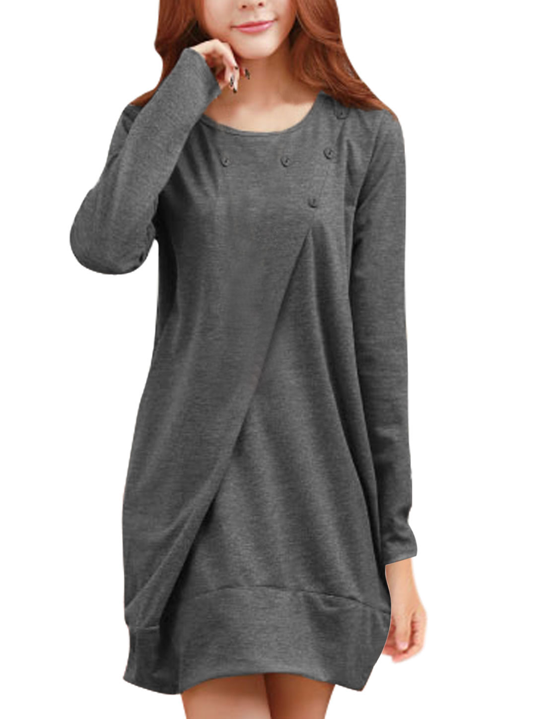 Two Slant Pocket Sides Round Neck Dark Gray Short Dress for Lady M