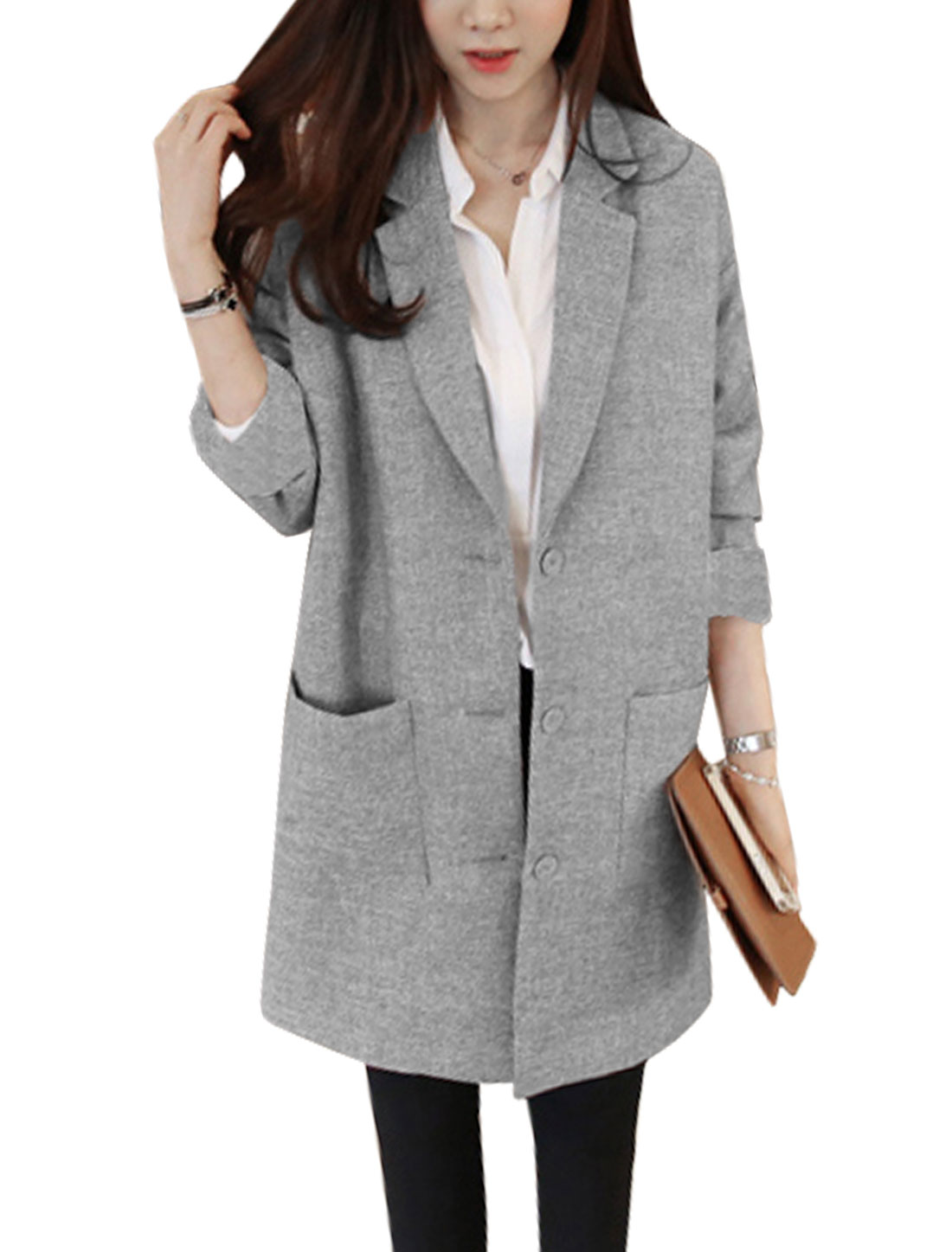 Lady Long Sleeve Notched Lapel Trench Blazer Jacket Light Gary S