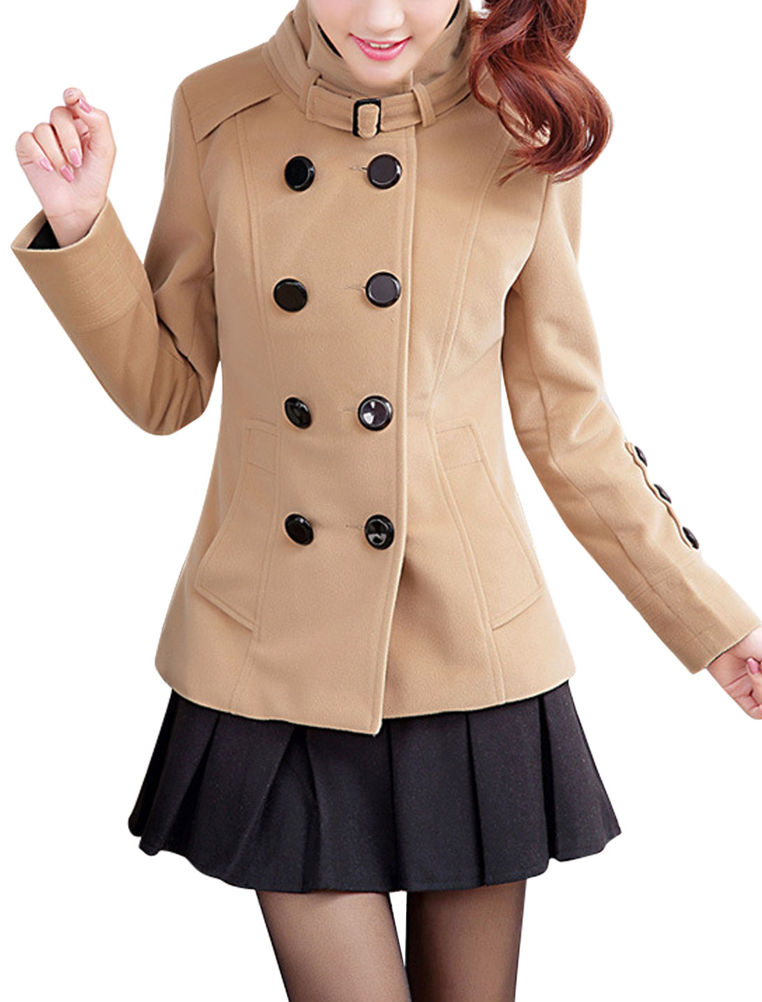 Lady Convertible Collar Double Breasted Worsted Coat w Button Light Camel M