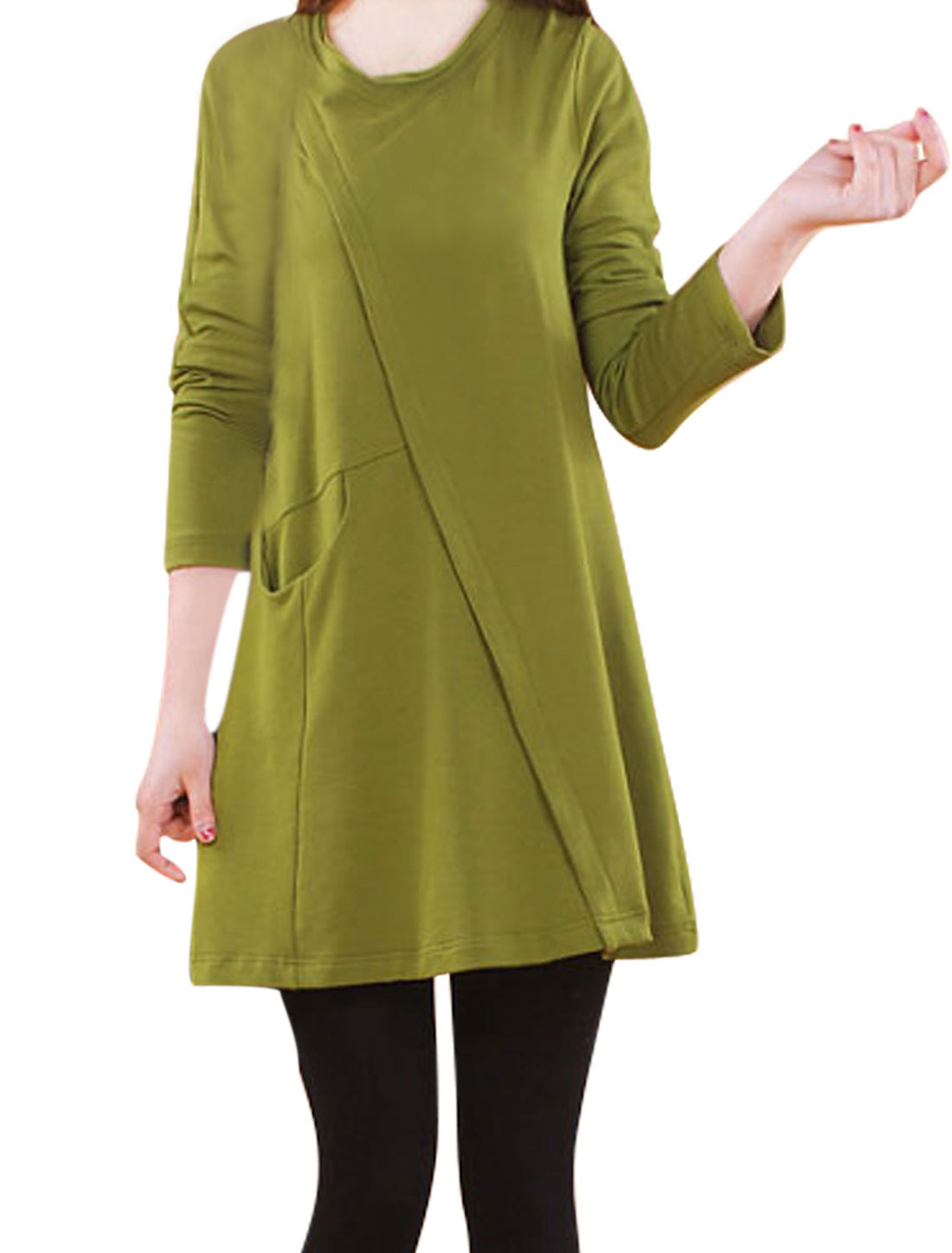 Women Round Neck Long Sleeves Loose Straight Dress Green M