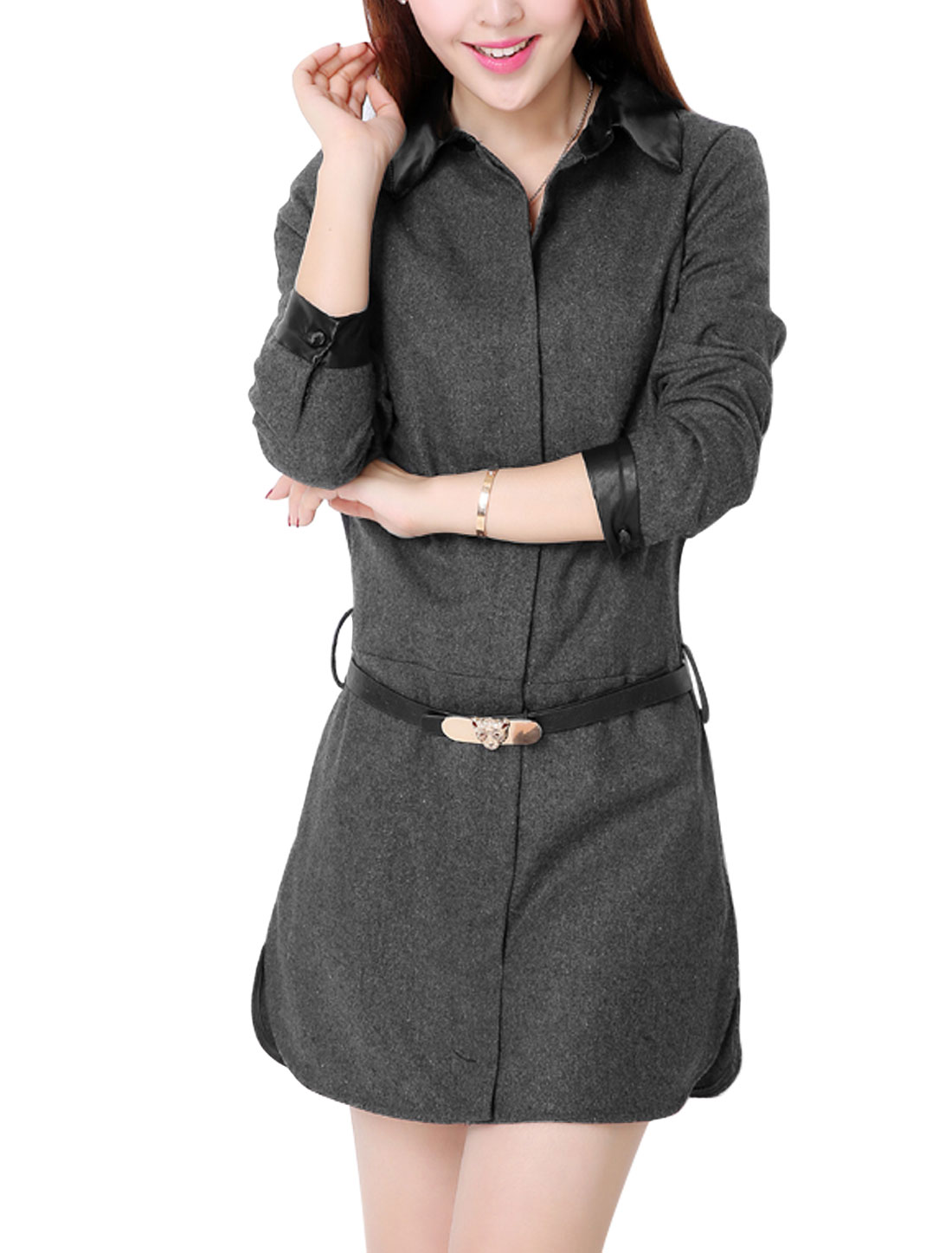 Lady Long Sleeve Button Cuffs Point Collar Dress w Belt Dark Gray S