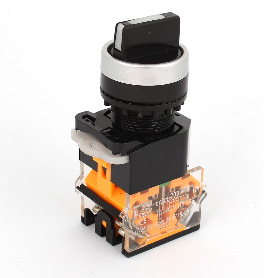 Panel Mounted DPST 2P NO+NC Rotary Selector Self-locking Switch 380V 10A
