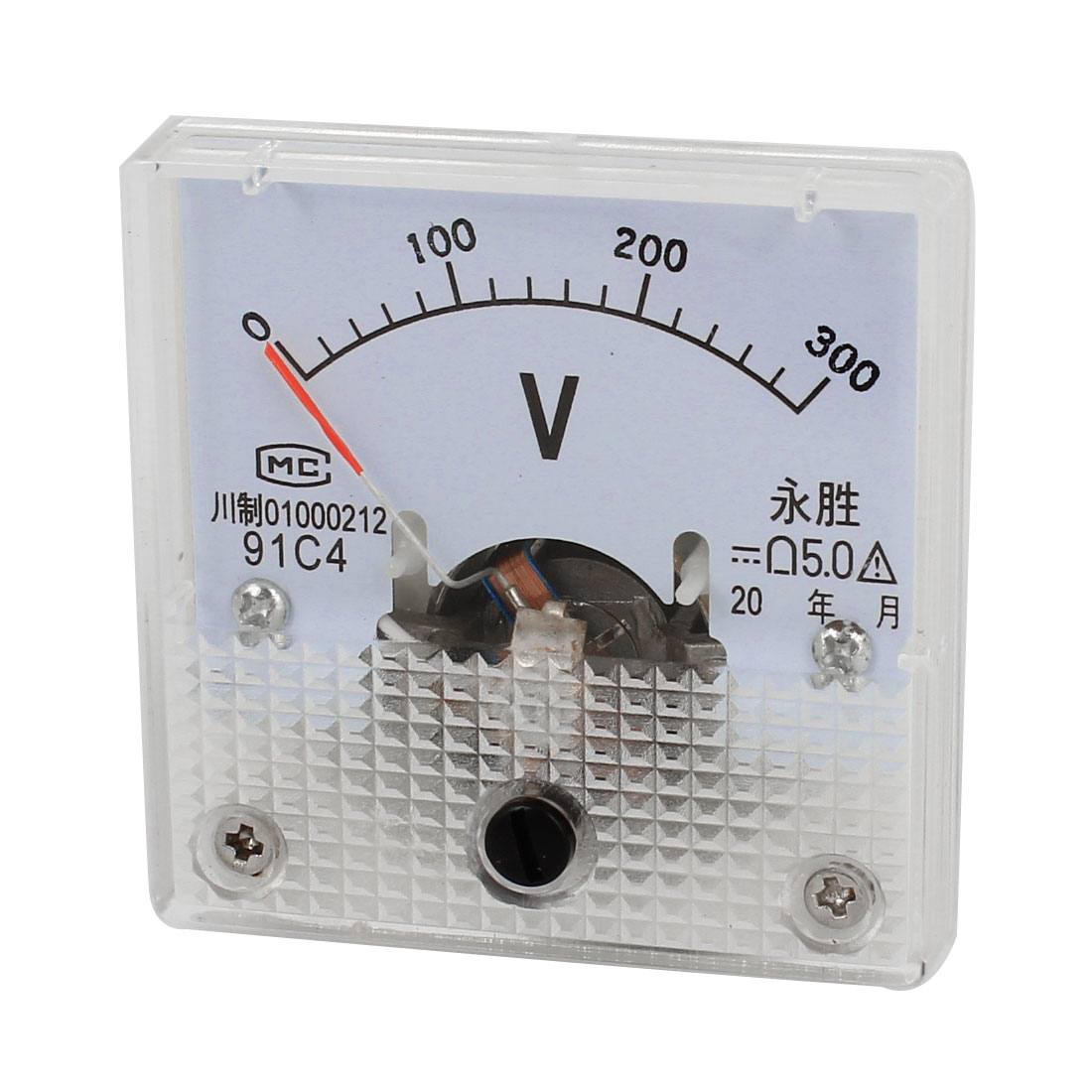 DC 0-300V Class 5.0 Rectangle Clear Plastic Panel Mount Gauge Voltmeter Voltage Meter