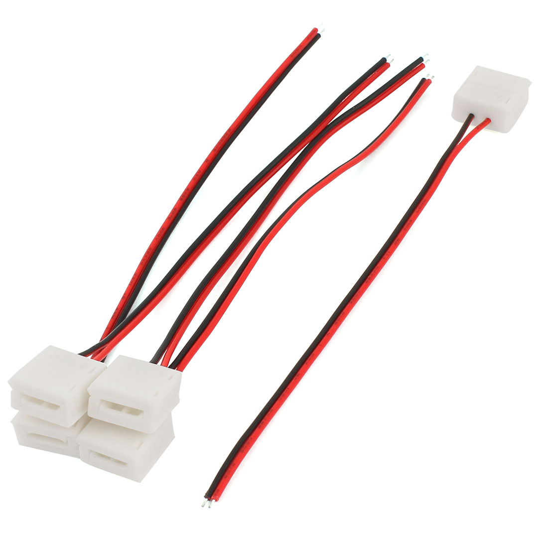 "5pcs 6"" Long 2 Pole Terminal Wire Connector for 5050 RGB LED Strip"