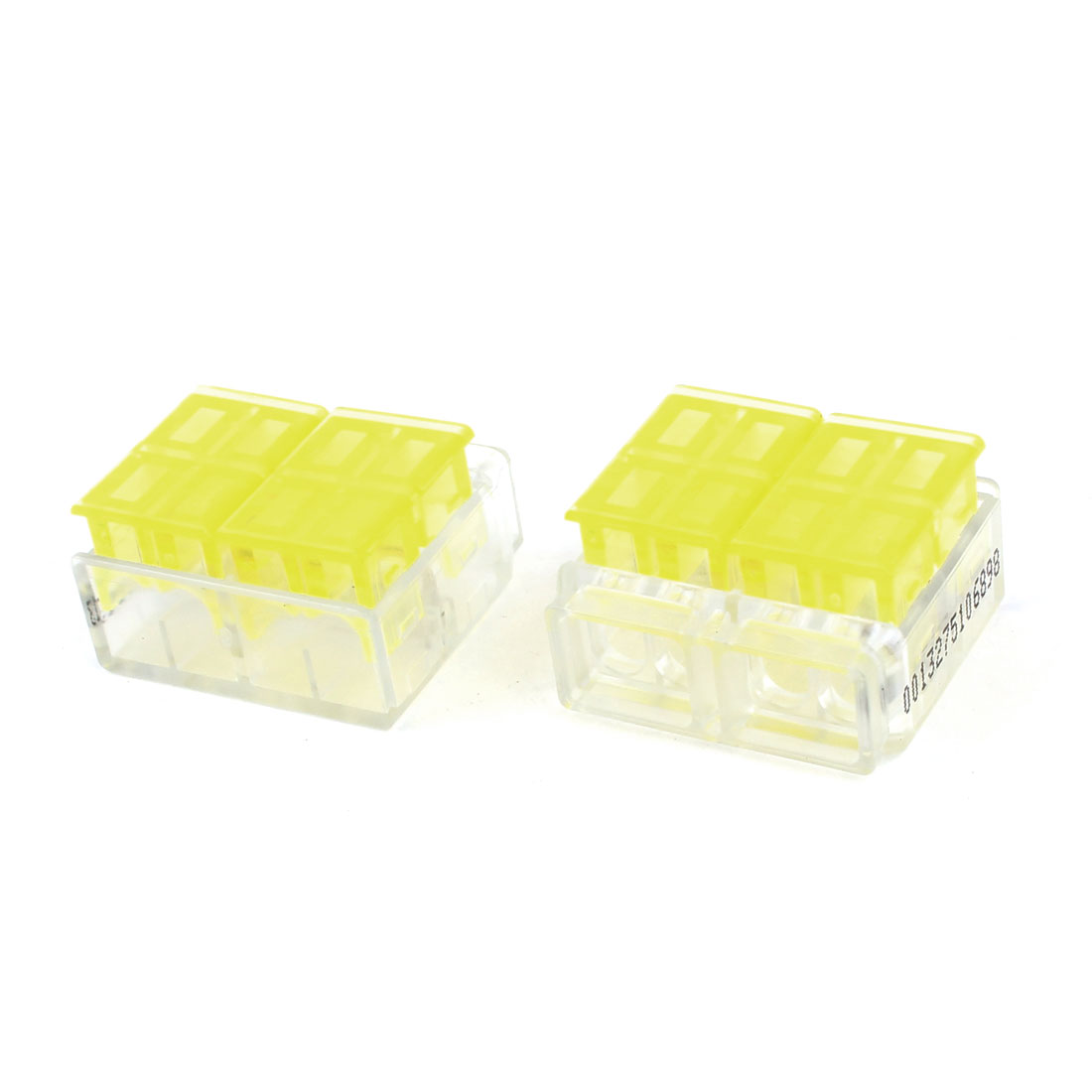 2 Pcs Plastic 1.5-2.5mm2 4 Position I-Clamp Wire Connection Clear Yellow