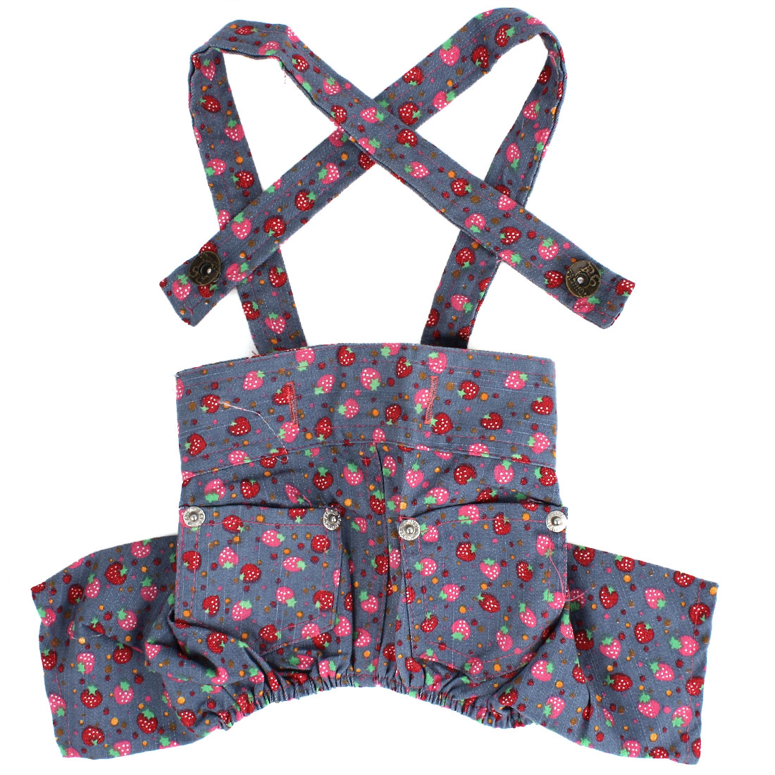 Hoop Loop Closure Strawberry Pattern Pet Puppy Dog Suspender Pants Denim Jeans Clothes Size S