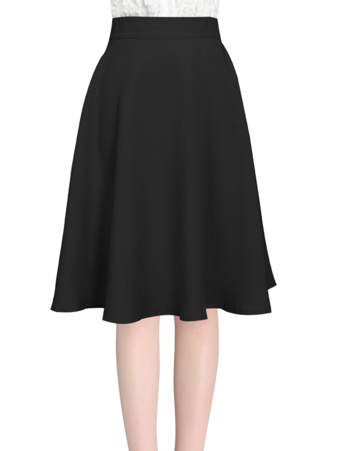 Knee Length Round Hem Fashion Full Skirt for Ladies Black XS
