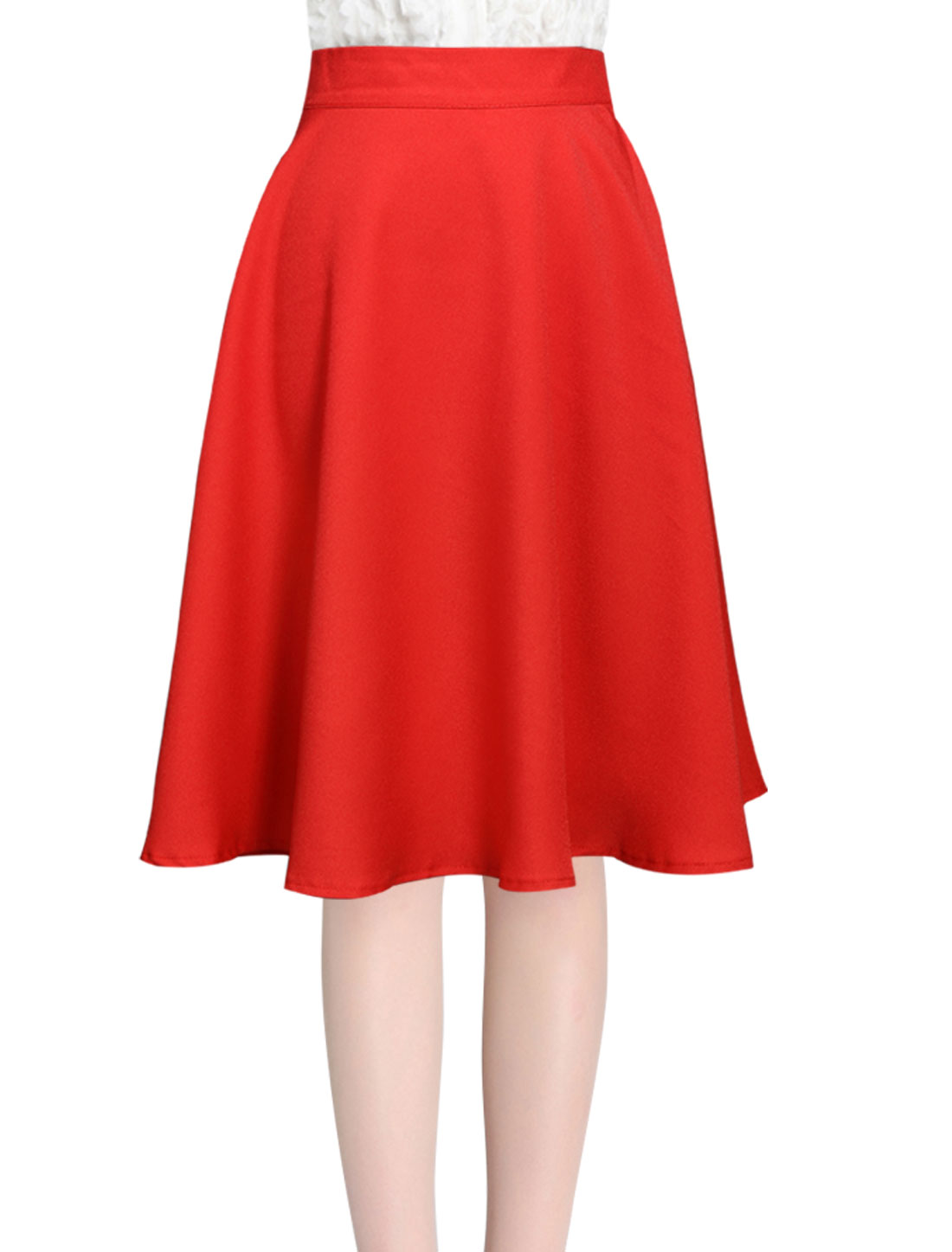 Women Unlined Knee Length Flouncing Hem Fashion Full Skirt Red XL