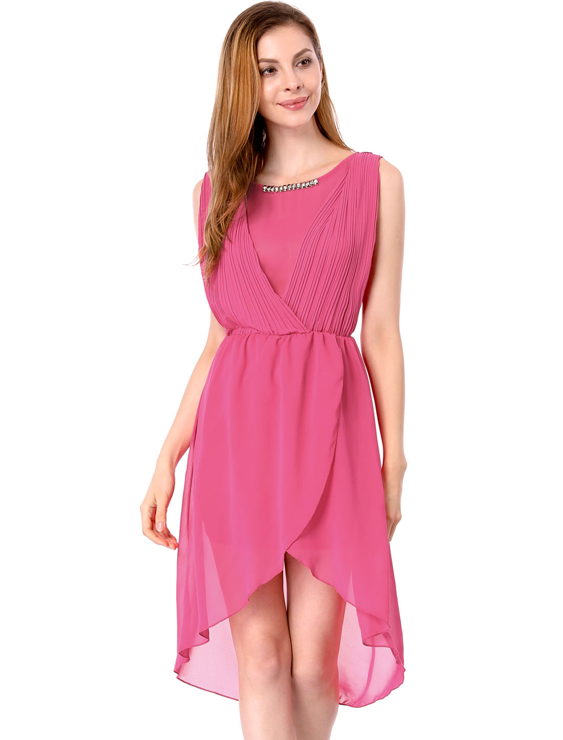 Ladies Elegant Pleated Detail Round Neck Low-High Hem Dress Fuchsia M