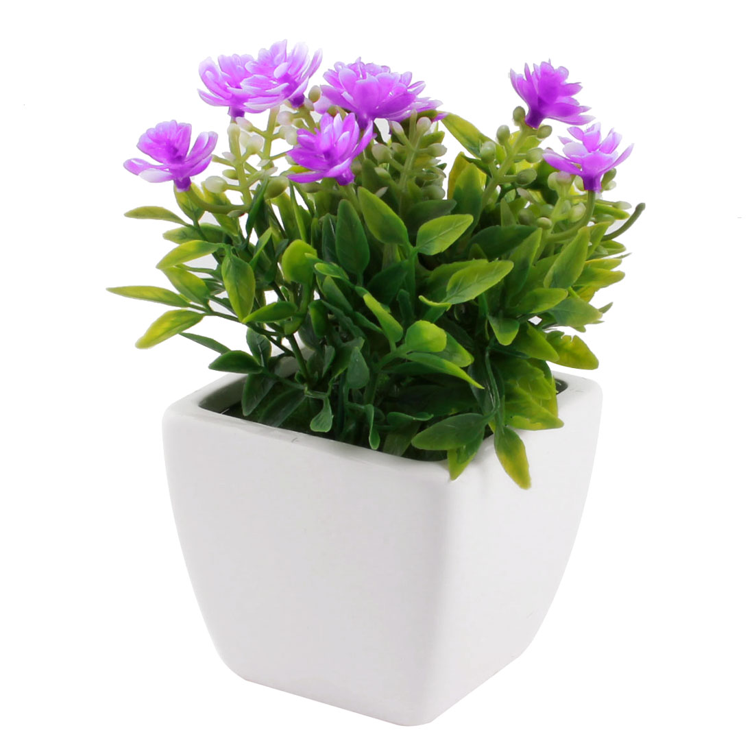 Table Ornament Green Leaves Purple Plastic Flowers Manmade Pot Flowerpot