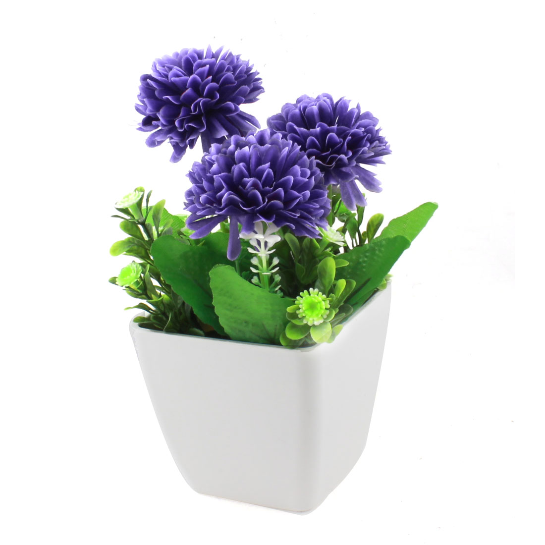 Home Table Desk Decor Decoration Purple Plastic Fabric Flowers Artificial Flowerpot Potting 19cm Height