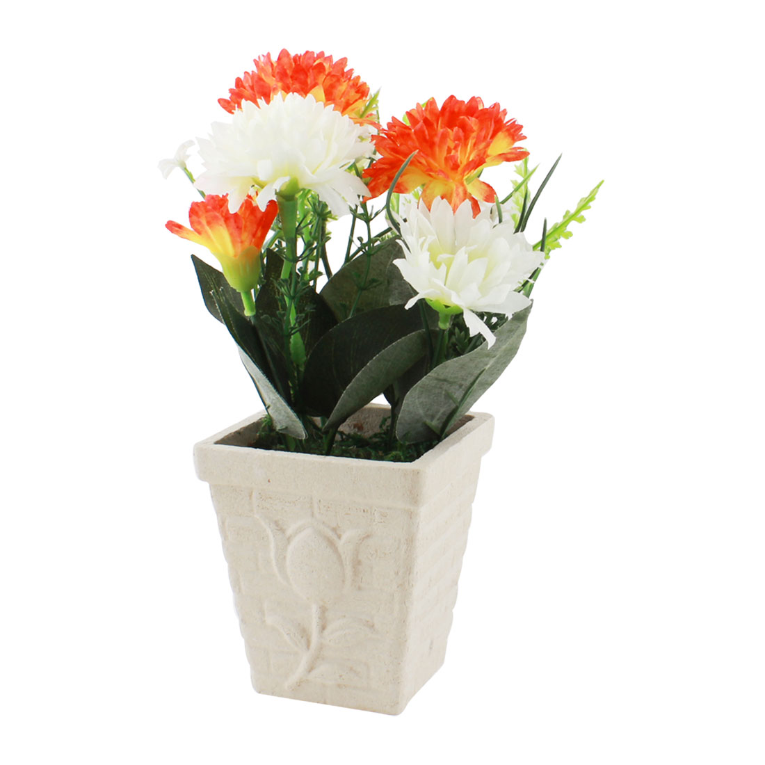 Artificial Table Decor Landscaping Orange Red White Plastic Flowers Flowerpot