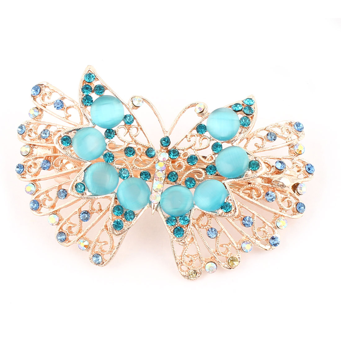 Woman Crystal Rhinestone Butterfly Style Metal Hair Clip Blue Champagne Color