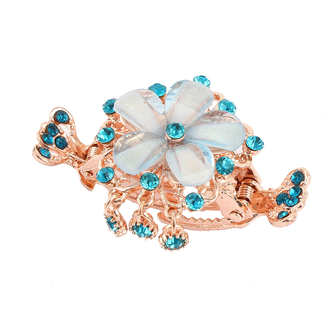 Blue Plastic Crystal Inlaid Accent Flower Design Hairpin Hair Claw Clip for Lady