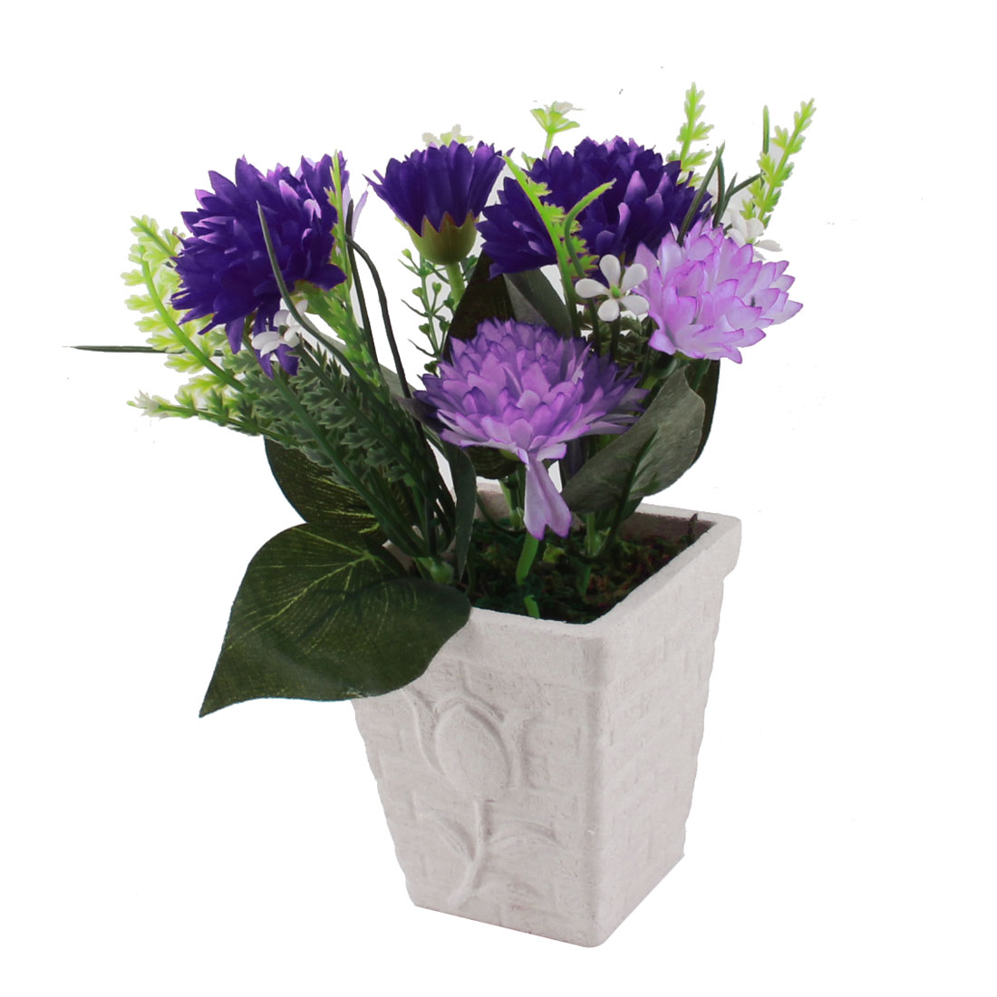 Table Decor Purple White Plastic Fabric Flowers Artificial Flowerpot Potting